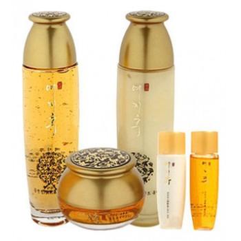 Набор с золотом и экстрактом красного женьшеня (тонер, эмульсия, крем), YEZIHU