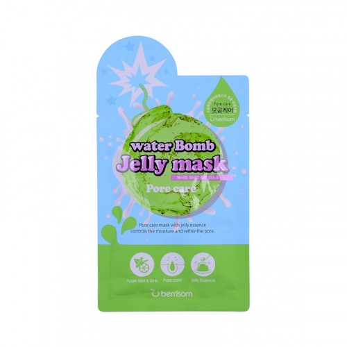 Маска для лица с желе сужающая поры Berrisom water Bomb Jelly mask - Pore care