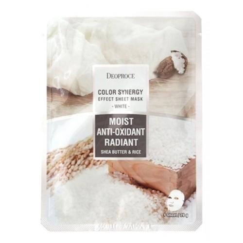 Маска тканевая на основе масла ши и рисовой воды COLOR SYNERGY EFFECT SHEET MASK WHITE