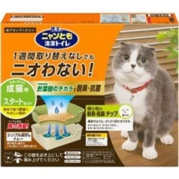 Биотуалет для кошек KAO набор: лоток открытый, щетка,лопатка, наполнитель 2л, подстилки 1 шт бежевый