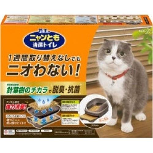 Биотуалет для кошек KAO набор: лоток открытый, лопатка, наполнитель 2л, подстилки 1 шт коричневый