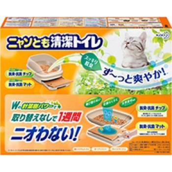 Биотуалет для кошек KAO набор: лоток открытый, лопатка, наполнитель 2л, подстилки 1 шт бежевый