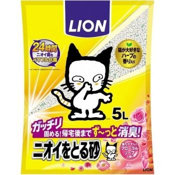 Наполнитель бентонитовый для кошачьего туалета LION с ароматом цветочного мыла 5 л