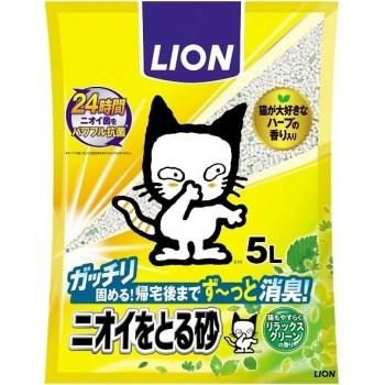 Наполнитель бентонитовый для кошачьего туалета LION с ароматом зелени 5 л