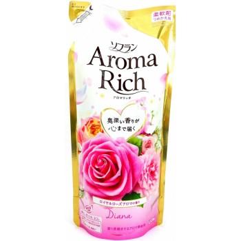 Кондиционер для белья LION Aroma Rich Diana с натуральными маслами розы, персика, малины, ванили, запасной блок 430 мл