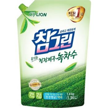 Средство для мытья посуды Lion Chamgreen С ароматом зеленого чая мягкая упаковка 1340 мл