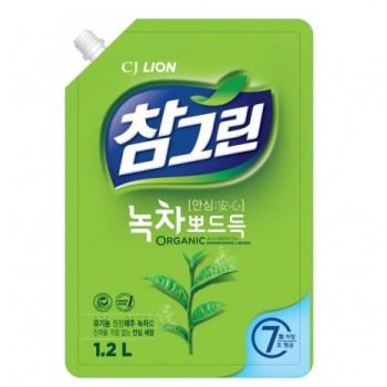 Средство для мытья посуды Lion Chamgreen С ароматом зеленого чая мягкая упаковка 1200 мл