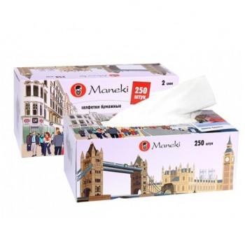Салфетки бумажные MANEKI Dream белые с ароматом Европы 2 слоя коробка 250 шт