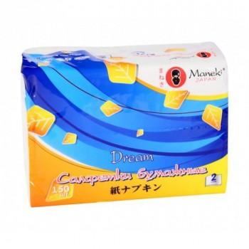 Салфетки бумажные MANEKI Dream белые 2 слоя упаковка 150 шт