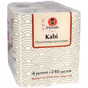 Полотенца кухонные бумажные MANEKI Sumi-e белые 4 рулона