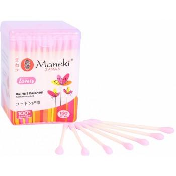 Палочки ватные гигиенические MANEKI Lovely с розовым стиком в пластиковой коробке 150 шт