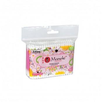 Палочки ватные гигиенические MANEKI Lovely с розовым стиком в zip-пакете 200 шт