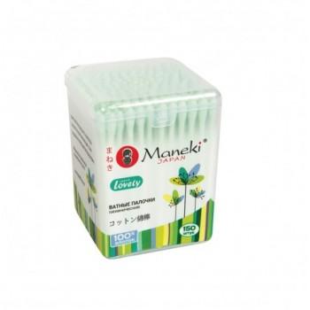 Палочки ватные гигиенические MANEKI Lovely с зеленым стиком в пластиковой коробке 150 шт