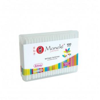 Палочки ватные гигиенические MANEKI Lovely с белым стиком в пластиковой коробке 100 шт