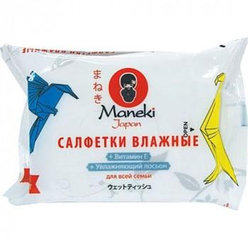Влажные салфетки MANEKI Kaiteki для всей семьи с вит. Е и увлажняющим лосьоном 25 шт