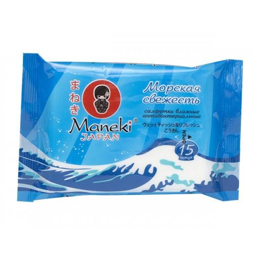 Влажные салфетки MANEKI Kaiteki антибактериальные Морская свежесть 15 шт