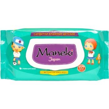 Влажные салфетки MANEKI Kaiteki детские с экстрактом Алоэ Вера 60 шт