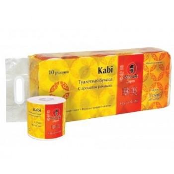 Бумага туалетная MANEKI Kabi белая 3 слоя с ароматом ромашки 10 рулонов в упаковке 39.2 м
