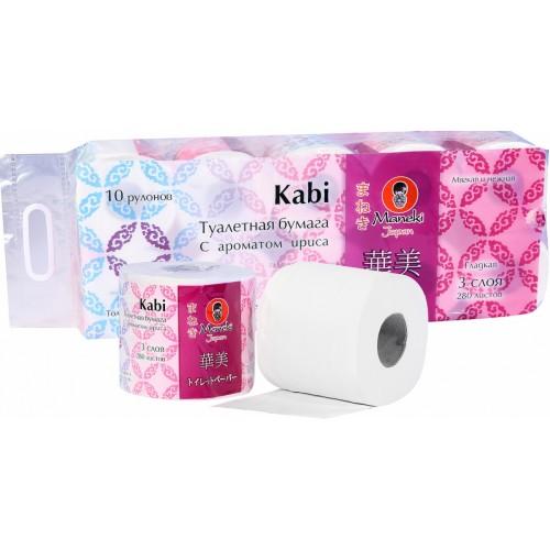 Бумага туалетная MANEKI Kabi белая 3 слоя с ароматом ириса 10 рулонов в упаковке 39.2 м