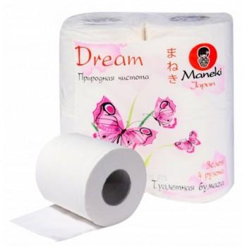 Бумага туалетная MANEKI Dream 3 слоя 4 рулона в упаковке 23 м