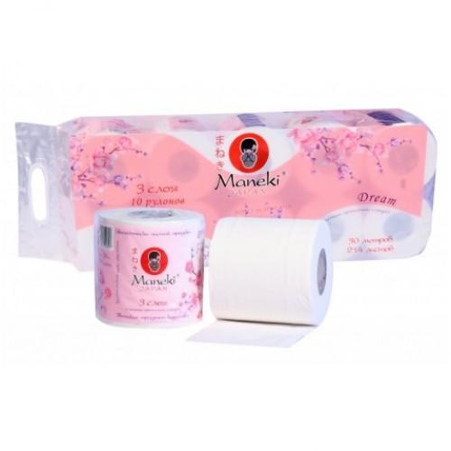 Бумага туалетная MANEKI Dream 3 слоя 10 рулонов в упаковке 30 м