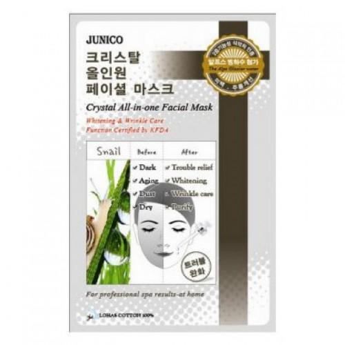 Маска тканевая с улиточным муцином Junico Crystal All-in-one Facial Mask Snail