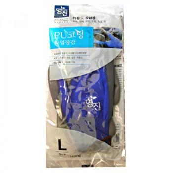 Перчатки хозяйственные с полиуретановым покрытием, размер L