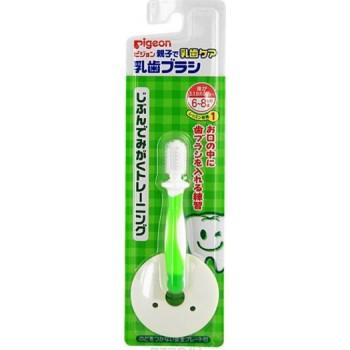 Зубная щетка с фиксатором PIGEON с 6 мес, зеленая