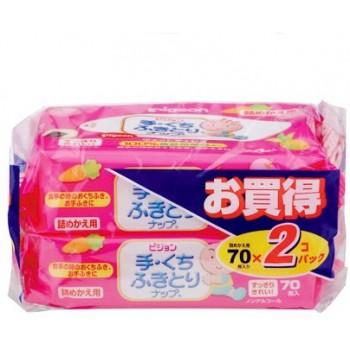 Детские влажные салфетки (для рук и лица) PIGEON запасной блок 70*2 шт