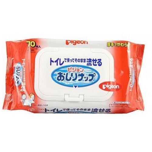 Детские влажные гигиенические салфетки PIGEON мягкая упаковка с клапаном 70 шт