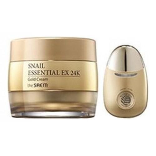 Крем для лица с муцином улитки и вибромассажер Snail Essential EX 24K Gold Cream Set
