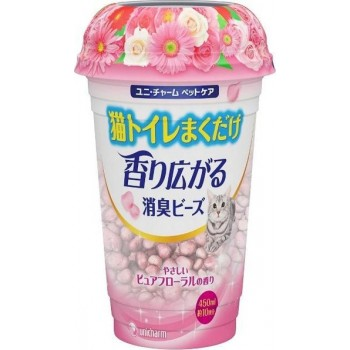 Шарики дезодорирующие для кошачьего туалета UNICHARM цветочный запах 450 мл
