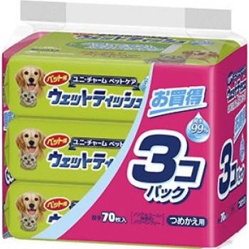 Салфетки влажные для домашних животных UNICHARM мягкая упаковка 70 шт*3