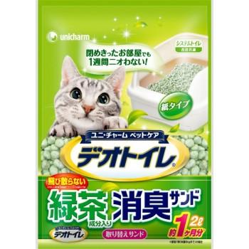 Наполнитель бумажный для биотуалета UNICHARM с ароматом зеленого чая 2 л