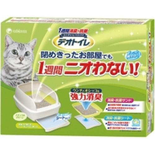 Биотуалет для кошек UNICHARM набор: лоток открытый, лопатка, наполнитель 2л, подстилки 1 шт зеленый