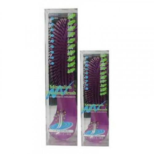Щетка массажная для сухих,ослабленных волос с минералами горных пород (с изогнутой ручкой,малая)