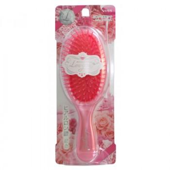 Щетка массажная для увлажнения и придания блеска волосам с маслом розы (круглая розовая)